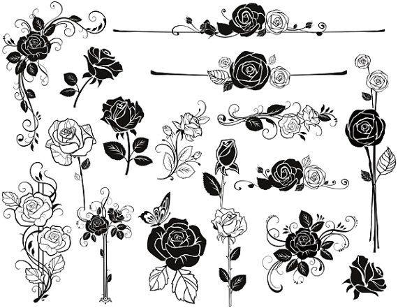 Instant Download Digital Sketchy Rose Flower by OneStopDigital, $3.75