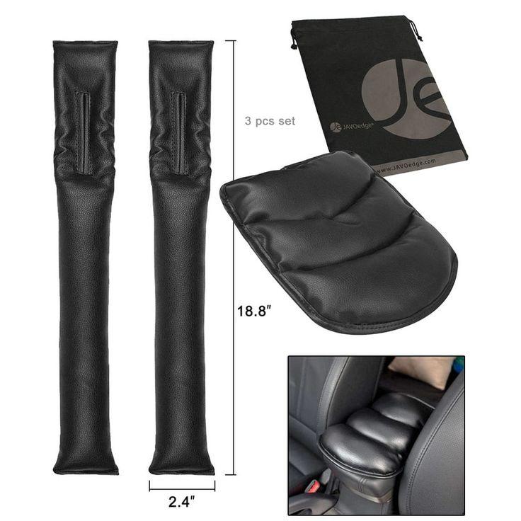 JAVOedge Black Car Console Arm Rest Pillow - black, (2 piece set), Black/(2 Piece Set) black/ (2 piece set)