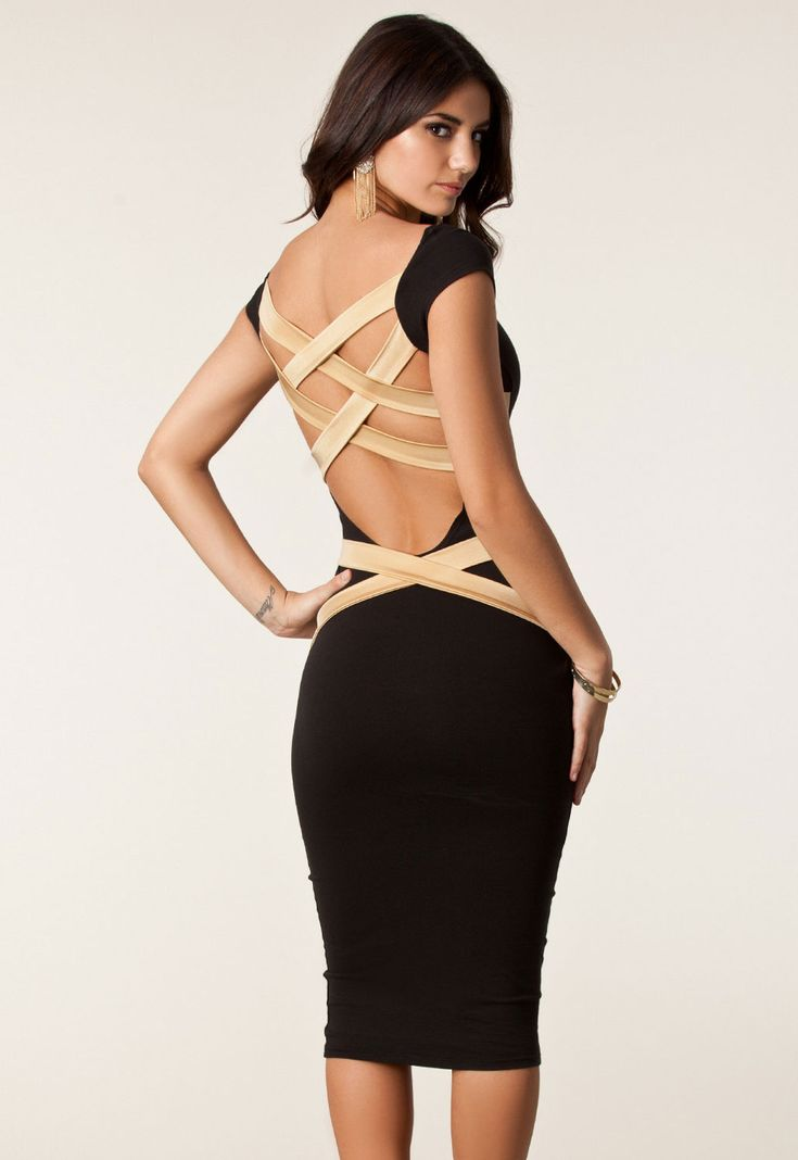 Black Round Neck Strappy Back Skintight Midi Dress