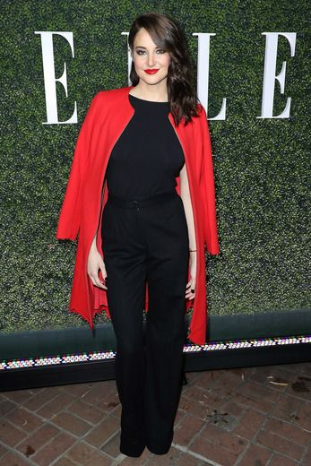 Shailene Woodley did a pop of color with her lips and coat at the Elle Women in Television Celebration.