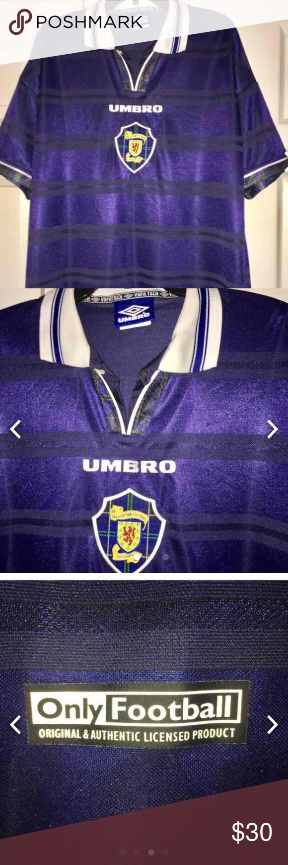 PRICE DROP $24 UMBRO SCOTTISH FOOTBALL JERSEY UMBRO SCOTTISH NAVY ONLY FOOTBALL JERSEY ORIGINAL N OFFICIAL AUTHENTIC INLY FOOTBALL JERSEY NEW NEVER WORN SIZE XL Umbro Shirts