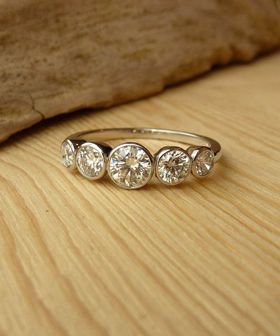 5 Stone Bezel Set Diamond Band by kateszabone on Etsy, $3200.00