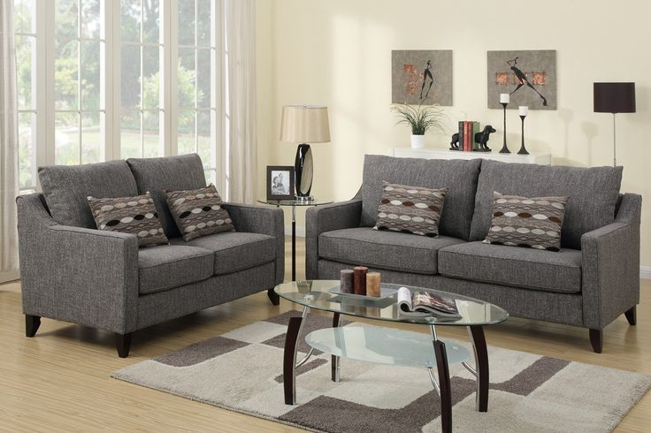 Best Linen Like Fabric Upholstered 2 Piece Sofa Set Sofa And 400 x 300