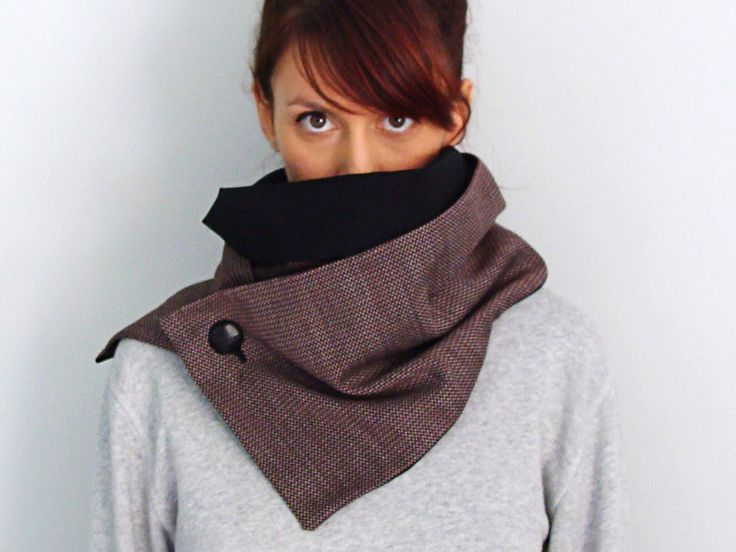 Warm wool button scarf in maroon & black cotton with an oversize black leather button - FOR SALE: 40.00€ - Click here to buy: clothbot.gr - clothbotshop.etsy... - double lined, turns twice around - Fall Winter 2015 scarves, accessories, trends, holidays, christmas gifts