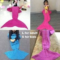 Wish | Two Size Hand Made Plush Mermaid Tail Shape Sofa Blanket Air Conditioning Blanket for Women and kids