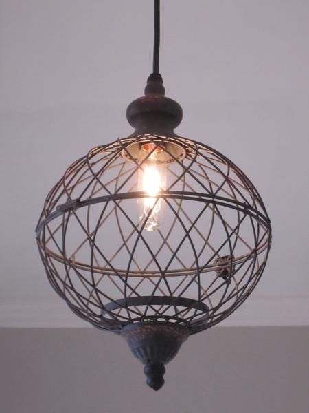 Rustic Medium Metal Globe Pendant Light - Out of the Woodwork Designs