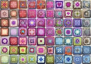 Granny squares. This page also has larger photos of the individual squares.