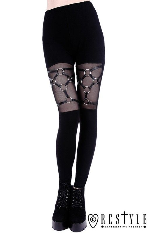 Restyle legginsy harness czarne gotyckie getry bawełniane