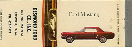 1966 Ford Mustang Dealership Matchbook Cover – Roswell, NM    Be sure to check out all of our Vintage Automotive Matchbook Covers at http://matchcoverguy.com/category/automotive/