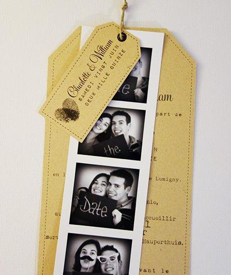 faire-part mariage photomaton vintage kraft 1