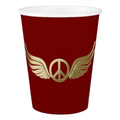Metal look peace symbol with wings paper cup - metallic style stylish great personalize