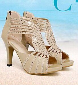 BC schuhe schuhe mit hohen absätzen offene spitze dünne fersen sexy strass sandalen aus echtem leder //Price: $US $64.00 & FREE Shipping //     #abendkleider