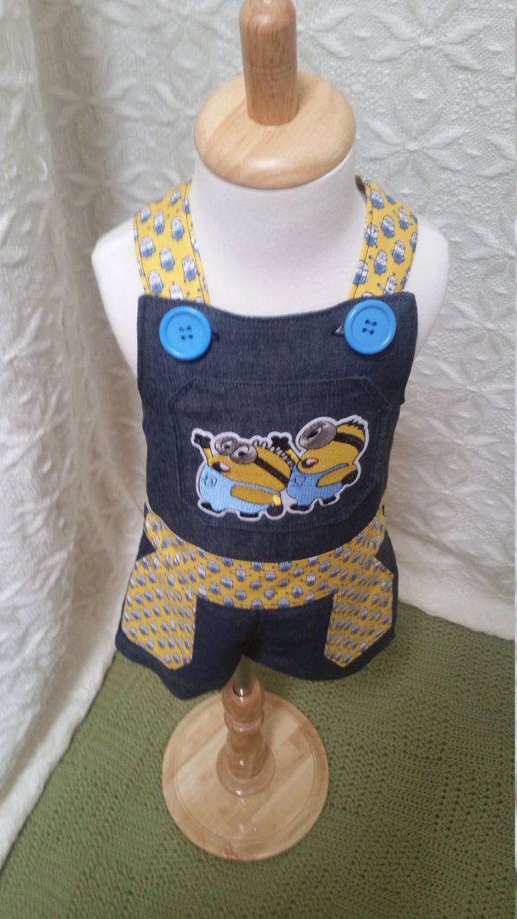 Minions, overalls, size 18 months, hand-sewn, minion outfit, unique, one-of-a-kind, boy's outfit, Despicable Me, baby present, blue yellow by LittleLarkClothing on Etsy