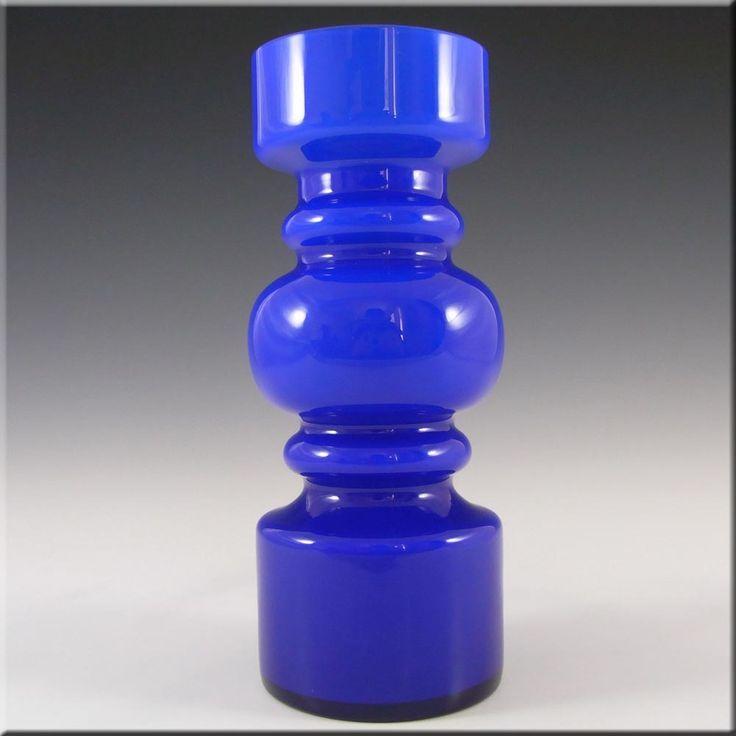 Lindshammar 1970's Swedish Blue Hooped Glass Vase £79.99