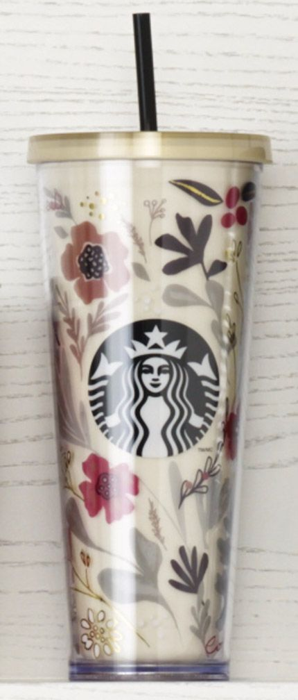 Acrylic Cold Cup with a beautiful floral design and our Siren logo. #Starbucks #DotCollection