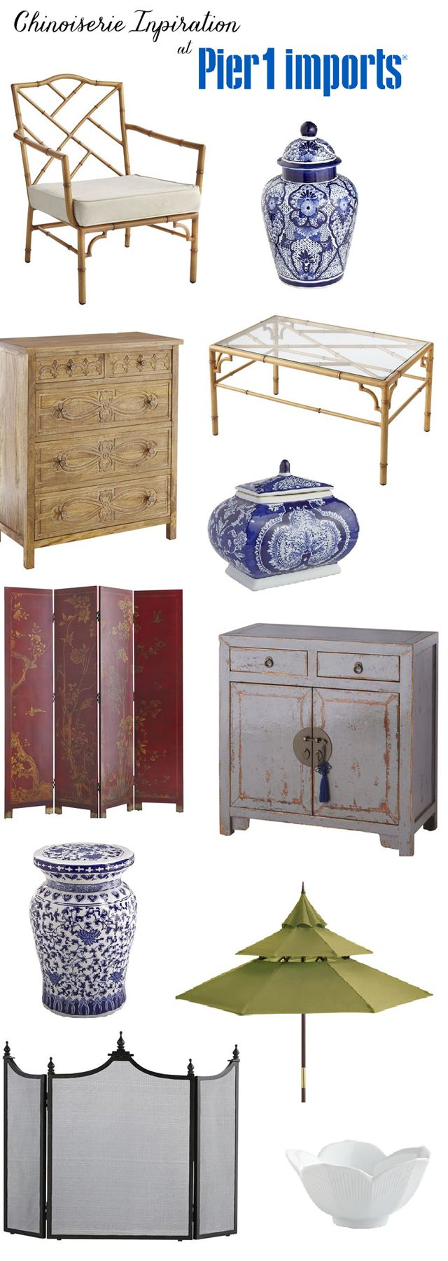 """When did @pier1imports become so """"chinoiserie chic""""? (Blue and white ginger jars, faux bamboo chair, coffee table, carved chest, Asian screen, red screen room divider, pagoda patio umbrella, etc.)"""