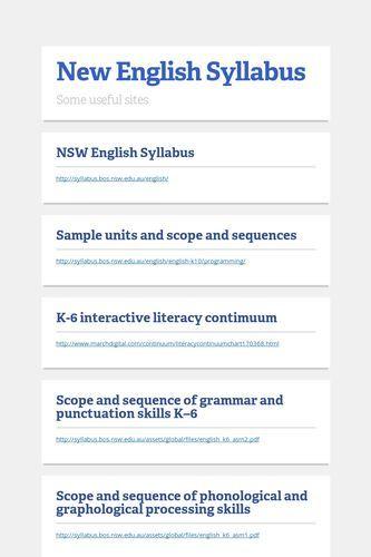 NSW English Syllabus http://syllabus.bos.nsw.edu.au/english/. Australian Curriculum English: Language, Literacy and Literature.