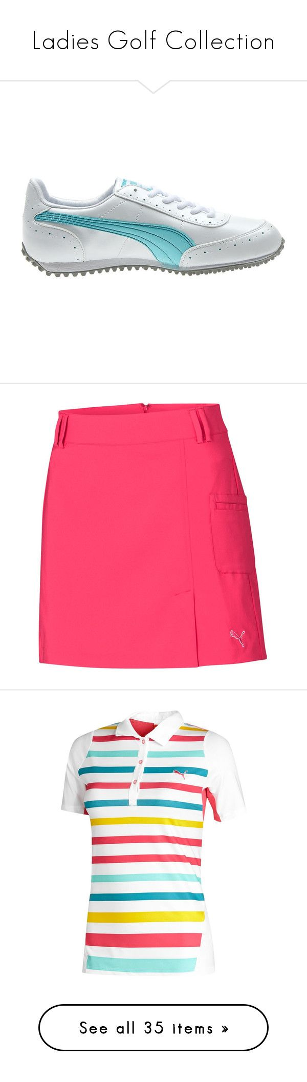 """""""Ladies Golf Collection"""" by puma ❤ liked on Polyvore featuring Puma, skirts, cleats, lexi thompson, rickie fowler, vests, puma, polos, golf and shoes"""