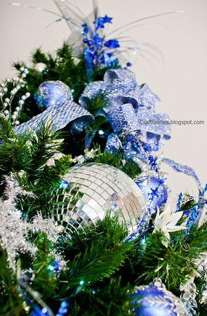 Disco ball - Blue, white, silver Christmas tree Holiday Decor