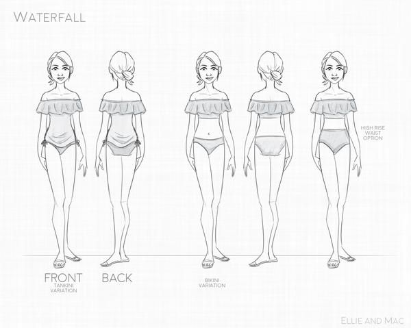 Waterfall Swimsuit Mix Match Pattern Drawings Sketches Easy