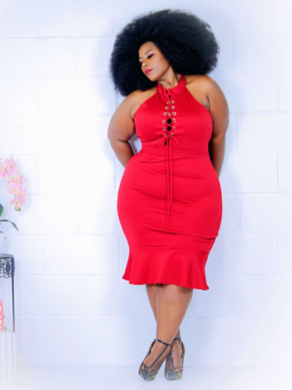 Lucy Lucy Plus Size Mermaid Dress in Red