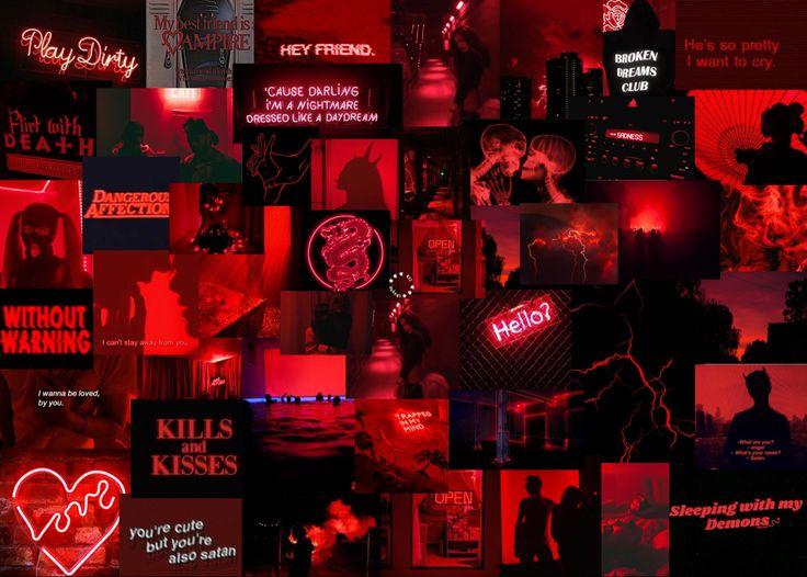 Custom Aesthetic Collage Wallpaper Custom Aesthetic Collage Laptop Macbook Wallpaper Aesthetic Collage Wallpaper Dark Red Wallpaper Aesthetic Desktop Wallpaper Aesthetic Collage