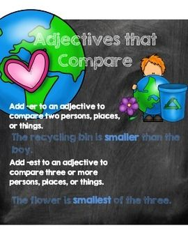 This Earth Day themed comparing adjectives pack includes:*Comparing Adjectives Poster *A sentence sort activity in which students will be asked to read a sentence and choose the adjective that best completes it. Students will then sort the sentences based on adjectives that mean more or most. *recording sheet with KEY *Tree Map worksheet*Worksheet in which students will identify the sentence with the underlined adjectiveCredits: Earth Day EduClipsKG Second Chalkboard Second Chances Font