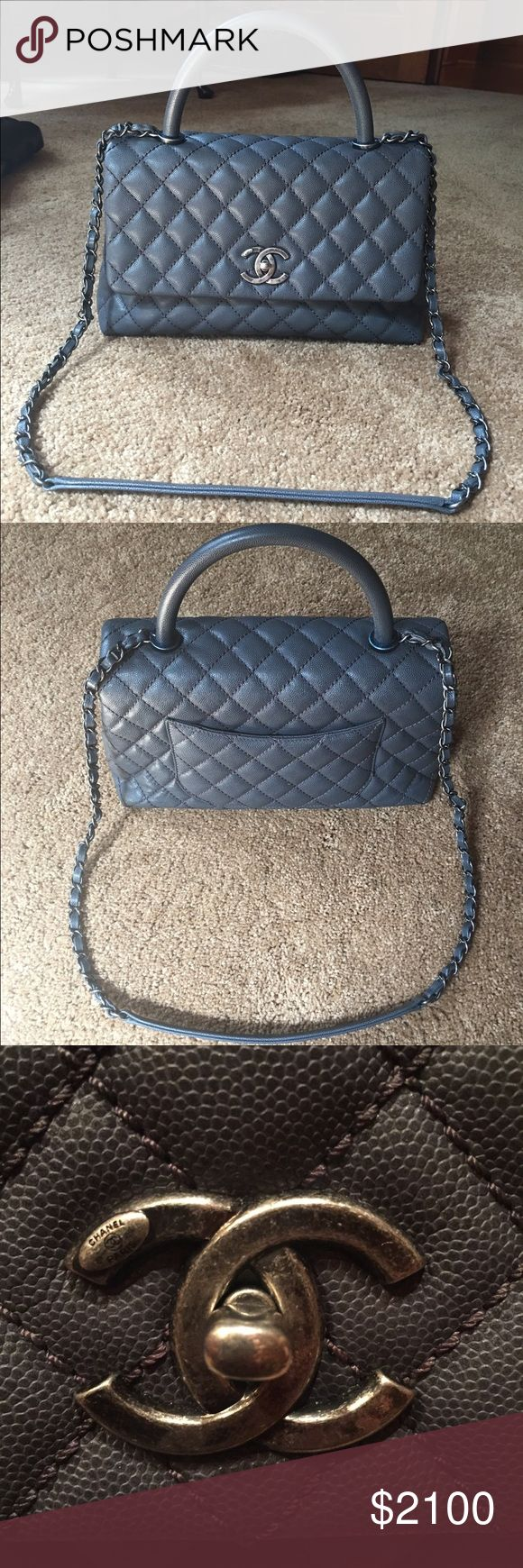 """Auth Chanel Coco Caviar Kelly Grey Flap Bag $4100 Like new! 100% Authentic Chanel Flapbag Grey quilted caviar leather with Coco handle- serial number: 21533839- short handle and long chain handle- turn lock closure- exterior pocket- 2 interior zip pockets- bag measures approx: 11"""" across X 8"""" tall X 4.5"""" deep-stunning bag!! CHANEL Bags Shoulder Bags"""