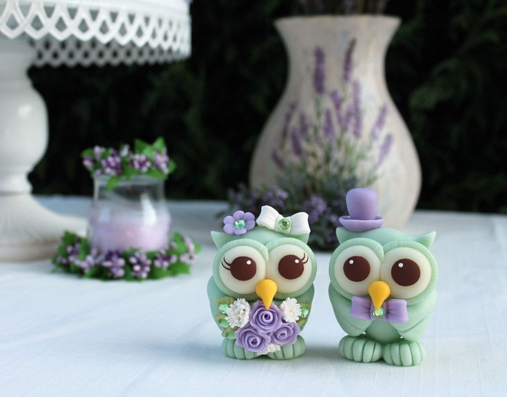 Mint to beowl cake topper in mint and lavender https://www.etsy.com/listing/467755396/wedding-love-bird-cake-topper