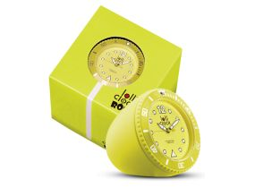 Lolliclock Rock Yellow. The ultimate desk accessory or gift. 44mm, ABS Polycarbonite case + PC Rock backcover, 1ATM, PC21S movement. Buy online at www.lolliclock.com.au