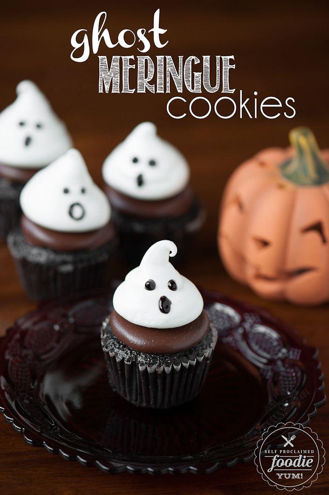 Ghost Meringue Cookies | Self Proclaimed Foodie - light, sweet and spooktacular. These little guys make great Halloween treats as cookies or cupcake toppers.