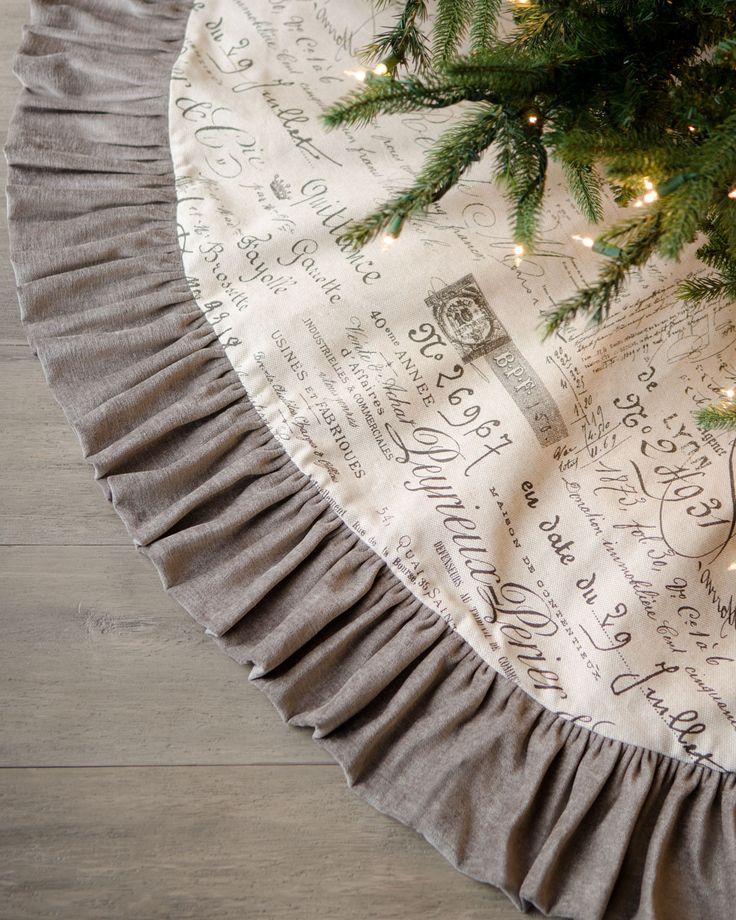 """French Laundry Home """"Joyeux Noel"""" Script Christmas Tree Skirt"""