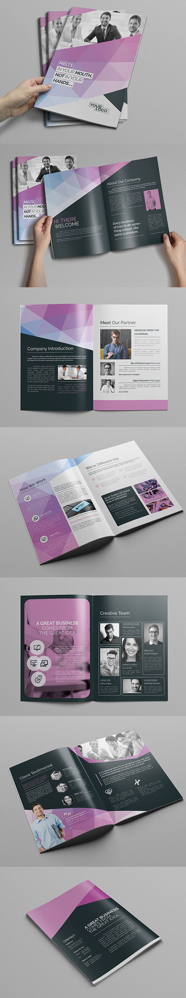 A4 Abstract Brochure Design Template #booklet #brochuredesign #brochuretemplates…