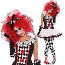 Girls Women's Scary Clown Harlequin Honey Halloween Costumes Fancy Dress Cosplay