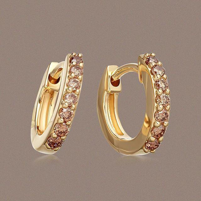 Cognac Diamond Halo Hoops| Luxury British Jewellery | Astley Clarke