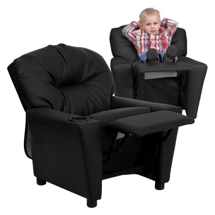 Flash Furniture Leather Kids Recliner with Cup Holder - Black - BT-7950-KID-BK-LEA-GG