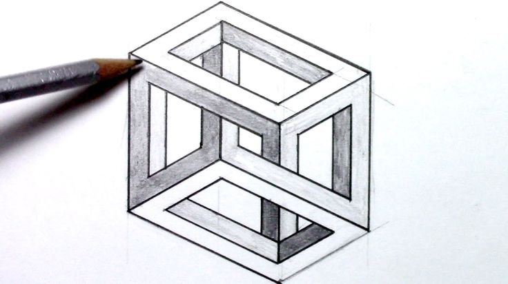 How-to-draw an Optical Illusion - Escher Cube - YouTube