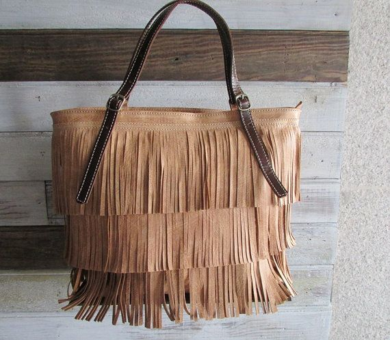 Fringes Leather Tote Fringes Bag Camel Tote Bag by Percibal, $180.00