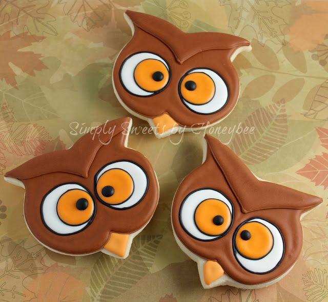 Owl Cookies Using a Pumpkin cookie Cutter - simplysweetsbyhoneybee.com