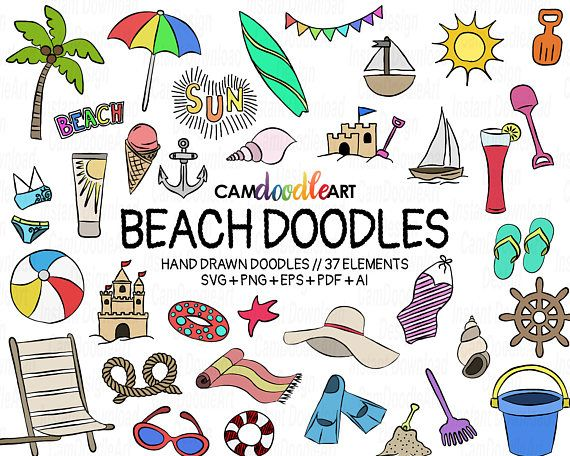 37 Beach Doodles Vector Pack, Hand Drawn Doodle Clipart ,Beach Clipart, Summer Clipart, Sketch, Drawing, Vector, EPS, PDF, PNG, Ai file