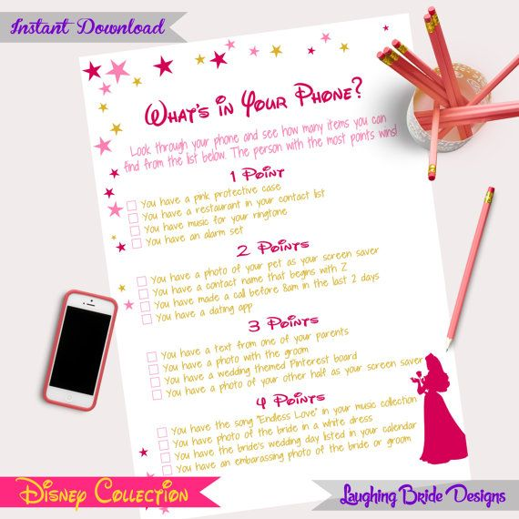 Disney Theme Bridal Shower Game Whats In Your Phone Hen