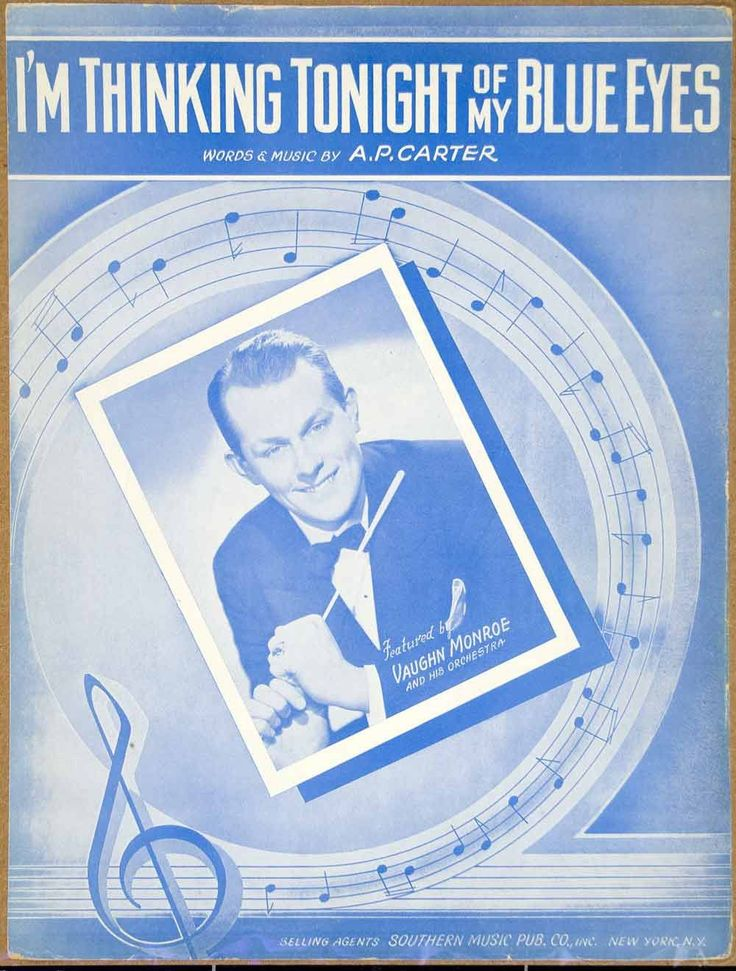1941 Sheet Music I'm Thinking Tonight of My Blue Eyes Song Vaughn Monroe ZSM4 - Period Paper