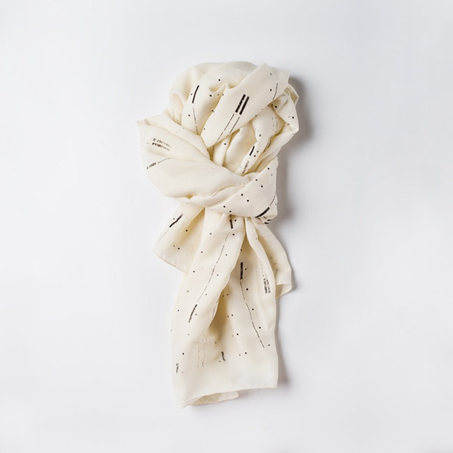 Light Sheer Silk Chiffon womens Scarf shawl wrap, screen print, glossy black delicate stripes and dots pattern. Hand made. $56.00, via Etsy.