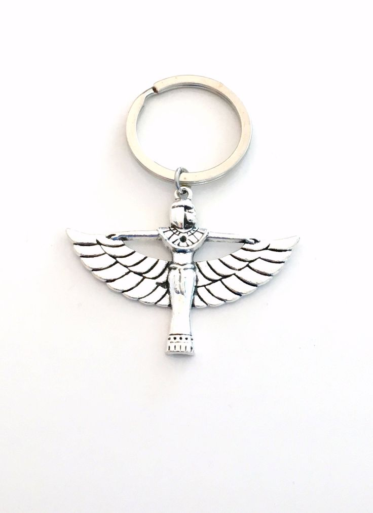 Goddess Cleopatra Keychain, Egyptian Goddess Keyring, Art Deco Key Chain, Jewelry Pewter Cleo Key ring Women Her Him Large Pendant God Wing by aJoyfulSurprise on Etsy
