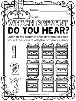 Christmas Music Worksheets for elementary music class. Rhythm and melody…