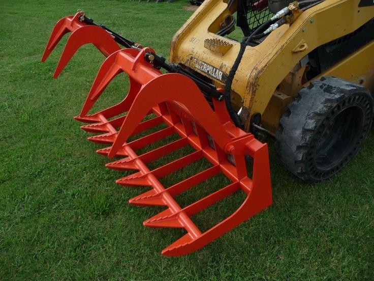 "Bobcat Skid Steer Attachment Kubota Orange 72"" Root Grapple Bucket SHIP $199 | eBay"
