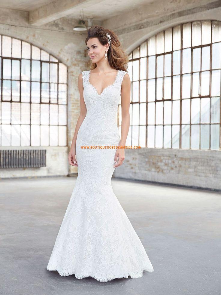 Robe de mariée sans manches dos nu col en v dentelle sirène belle pas cher