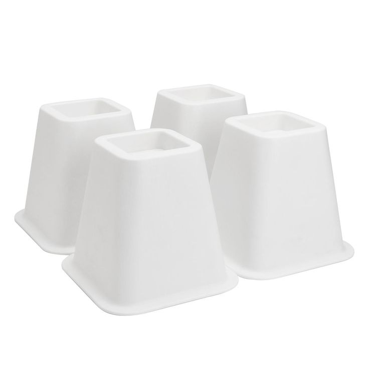 4Pcs 6 Inch Furniture Riser White Plastic for Bed Chair 500 kg