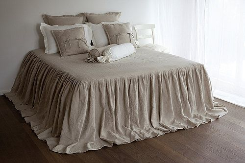 Bed COVERLET, pure linen coverlet, white, off white, natural or striped bed cover, french style bedroom accent by Linum Studio
