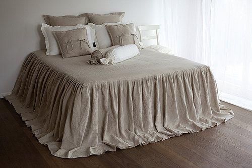 Bed COVERLET - linen coverlet - natural coverlet - flax grey coverlet - grey bed cover - linen bedspread - grey bedspread - ruffled coverlet